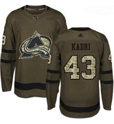 Avalanche #43 Nazem Kadri Green Salute to Service Stitched Hockey Jersey
