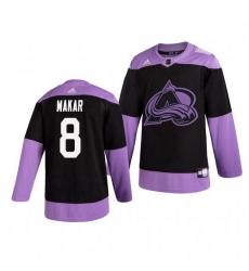 Avalanche 8 Cale Makar Black Purple Hockey Fights Cancer Adidas Jersey