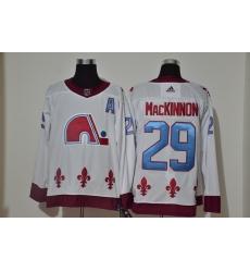 Men Colorado Avalanche 29 Nathan MacKinnon White 2020 21 Reverse Retro Adidas Jersey