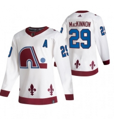 Men Colorado Avalanche 29 Nathan MacKinnon White Adidas 2020 21 Reverse Retro Alternate NHL Jersey