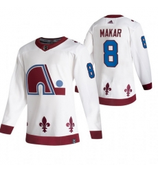 Men Colorado Avalanche 8 Cale Makar White Adidas 2020 21 Reverse Retro Alternate NHL Jersey