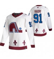 Men Colorado Avalanche 91 Nazem Kadri White Adidas 2020 21 Reverse Retro Alternate NHL Jersey