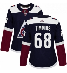 Womens Adidas Colorado Avalanche 68 Conor Timmins Authentic Navy Blue Alternate NHL Jersey
