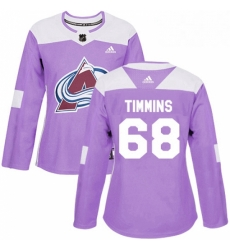 Womens Adidas Colorado Avalanche 68 Conor Timmins Authentic Purple Fights Cancer Practice NHL Jersey