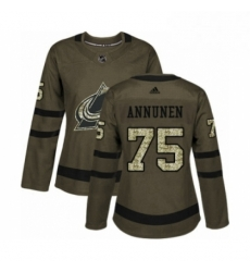 Womens Adidas Colorado Avalanche 75 Justus Annunen Authentic Green Salute to Service NHL Jersey