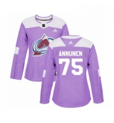 Womens Adidas Colorado Avalanche 75 Justus Annunen Authentic Purple Fights Cancer Practice NHL Jersey