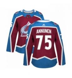 Womens Adidas Colorado Avalanche 75 Justus Annunen Premier Burgundy Red Home NHL Jersey