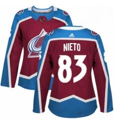 Womens Adidas Colorado Avalanche 83 Matt Nieto Authentic Burgundy Red Home NHL Jersey