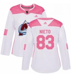 Womens Adidas Colorado Avalanche 83 Matt Nieto Authentic WhitePink Fashion NHL Jersey