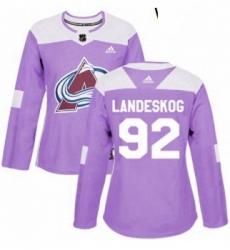 Womens Adidas Colorado Avalanche 92 Gabriel Landeskog Authentic Purple Fights Cancer Practice NHL Jersey