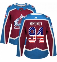 Womens Adidas Colorado Avalanche 94 Andrei Mironov Authentic Burgundy Red USA Flag Fashion NHL Jersey