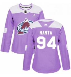 Womens Adidas Colorado Avalanche 94 Sampo Ranta Authentic Purple Fights Cancer Practice NHL Jersey