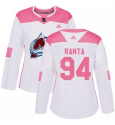 Womens Adidas Colorado Avalanche 94 Sampo Ranta Authentic White Pink Fashion NHL Jersey