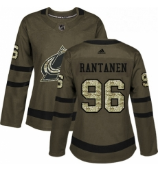 Womens Adidas Colorado Avalanche 96 Mikko Rantanen Authentic Green Salute to Service NHL Jersey