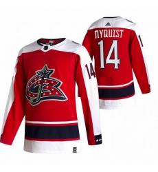 Men Columbus Blue Jackets 14 Gustav Nyquist Red Adidas 2020 21 Reverse Retro Alternate NHL Jersey