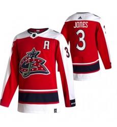 Men Columbus Blue Jackets 3 Seth Jones Red Adidas 2020 21 Reverse Retro Alternate NHL Jersey
