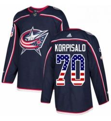 Mens Adidas Columbus Blue Jackets 70 Joonas Korpisalo Authentic Navy Blue USA Flag Fashion NHL Jersey