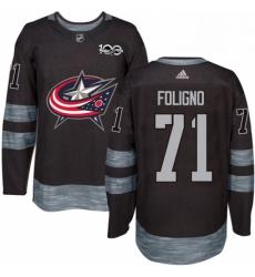 Mens Adidas Columbus Blue Jackets 71 Nick Foligno Authentic Black 1917 2017 100th Anniversary NHL Jersey