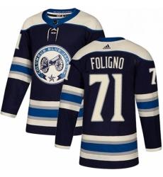 Mens Adidas Columbus Blue Jackets 71 Nick Foligno Authentic Navy Blue Alternate NHL Jersey