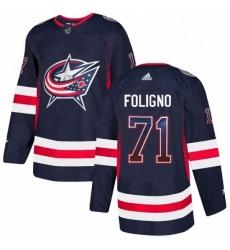 Mens Adidas Columbus Blue Jackets 71 Nick Foligno Authentic Navy Blue Drift Fashion NHL Jersey