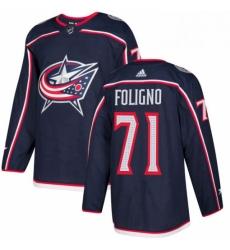Mens Adidas Columbus Blue Jackets 71 Nick Foligno Authentic Navy Blue Home NHL Jersey