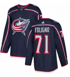Mens Adidas Columbus Blue Jackets 71 Nick Foligno Premier Navy Blue Home NHL Jersey
