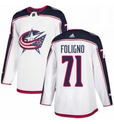 Mens Adidas Columbus Blue Jackets 71 Nick Foligno White Road Authentic Stitched NHL Jersey