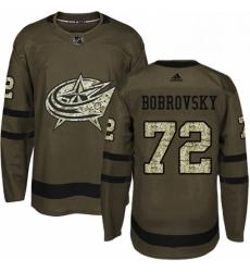 Mens Adidas Columbus Blue Jackets 72 Sergei Bobrovsky Authentic Green Salute to Service NHL Jersey