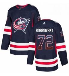 Mens Adidas Columbus Blue Jackets 72 Sergei Bobrovsky Authentic Navy Blue Drift Fashion NHL Jersey