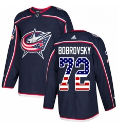 Mens Adidas Columbus Blue Jackets 72 Sergei Bobrovsky Authentic Navy Blue USA Flag Fashion NHL Jersey