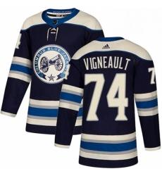 Mens Adidas Columbus Blue Jackets 74 Sam Vigneault Authentic Navy Blue Alternate NHL Jersey