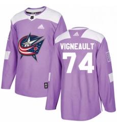Mens Adidas Columbus Blue Jackets 74 Sam Vigneault Authentic Purple Fights Cancer Practice NHL Jersey