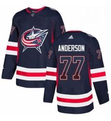 Mens Adidas Columbus Blue Jackets 77 Josh Anderson Authentic Navy Blue Drift Fashion NHL Jersey