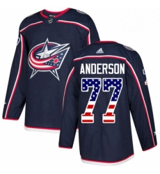 Mens Adidas Columbus Blue Jackets 77 Josh Anderson Authentic Navy Blue USA Flag Fashion NHL Jersey