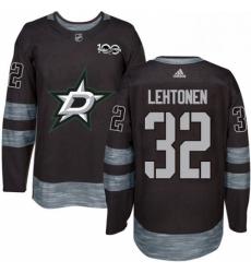 Mens Adidas Dallas Stars 32 Kari Lehtonen Authentic Black 1917 2017 100th Anniversary NHL Jersey