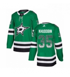Mens Adidas Dallas Stars 35 Anton Khudobin Authentic Green Drift Fashion NHL Jersey
