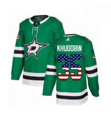 Mens Adidas Dallas Stars 35 Anton Khudobin Authentic Green USA Flag Fashion NHL Jersey