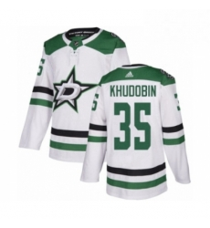 Mens Adidas Dallas Stars 35 Anton Khudobin Authentic White Away NHL Jersey