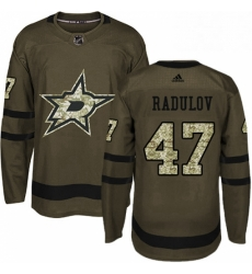 Mens Adidas Dallas Stars 47 Alexander Radulov Authentic Green Salute to Service NHL Jersey