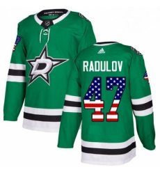 Mens Adidas Dallas Stars 47 Alexander Radulov Authentic Green USA Flag Fashion NHL Jersey