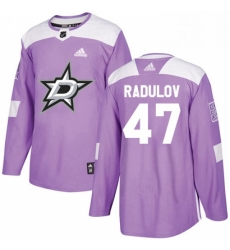 Mens Adidas Dallas Stars 47 Alexander Radulov Authentic Purple Fights Cancer Practice NHL Jersey