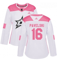 Stars #16 Joe Pavelski White Pink Authentic Fashion Women Stitched Hockey Jersey