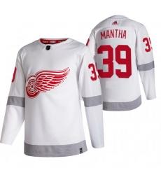 Men Detroit Red Wings 39 Anthony Mantha White Adidas 2020 21 Reverse Retro Alternate NHL Jersey