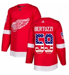 Mens Adidas Detroit Red Wings 59 Tyler Bertuzzi Authentic Red USA Flag Fashion NHL Jersey