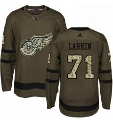 Mens Adidas Detroit Red Wings 71 Dylan Larkin Premier Green Salute to Service NHL Jersey
