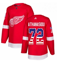 Mens Adidas Detroit Red Wings 72 Andreas Athanasiou Authentic Red USA Flag Fashion NHL Jersey