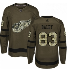 Mens Adidas Detroit Red Wings 83 Trevor Daley Authentic Green Salute to Service NHL Jersey