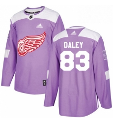 Mens Adidas Detroit Red Wings 83 Trevor Daley Authentic Purple Fights Cancer Practice NHL Jersey