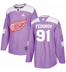 Mens Adidas Detroit Red Wings 91 Sergei Fedorov Authentic Purple Fights Cancer Practice NHL Jersey