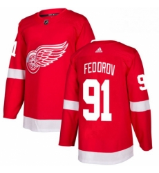 Mens Adidas Detroit Red Wings 91 Sergei Fedorov Authentic Red Home NHL Jersey
